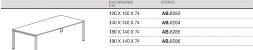 medidas mesa rectangular reuniones bench nova