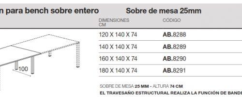 medidas mesa rectangular reuniones extension nova