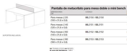 medida pantalla de metacrilato para mesa doble o mini bench ofitres new pano