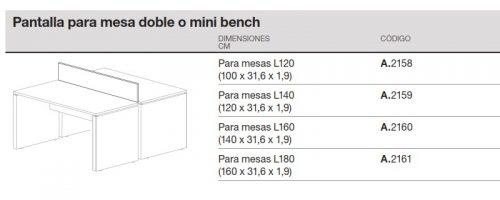 medida pantalla para mesa doble o mini bench ofitres