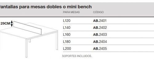 medida pantalla para mesa doble o mini bench ofitres ipop extrem