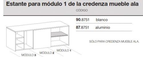 medidas credenza mueble ala modulo 1 estante ofitres
